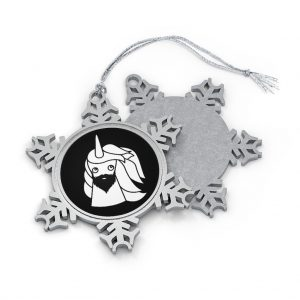 Bearded Unicorn Pewter Snowflake Ornament