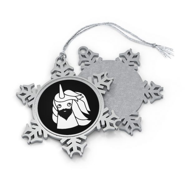Bearded Unicorn Pewter Snowflake Ornament